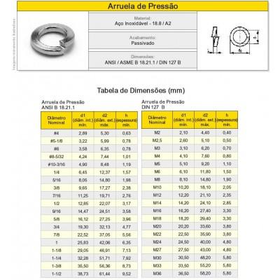Arruela de Pressão Aço Inox A2 Milímetro