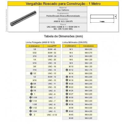 Barra Roscada Vergalhão Aço Carbono 1020 Polegada