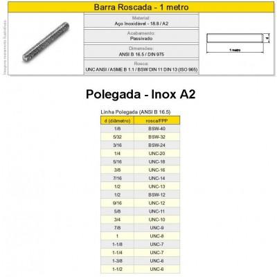 Barra Roscada Vergalhão Aço Inox A2 304 Polegada