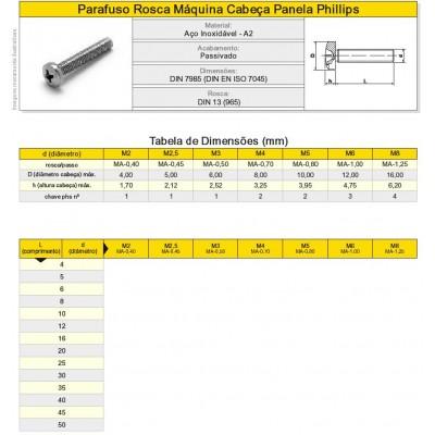Parafuso Fenda Máquina Aço Inox Philips Panela A2