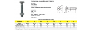Parafuso Francês com Porca Aço Carbono
