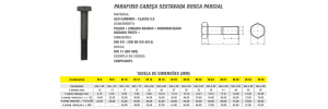 Parafuso Cabeça Sextavada Rosca Parcial Aço Carbono Classe 5.8