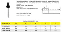 Rebite de Repuxo Corpo de Alumínio Pintado Preto ou Branco