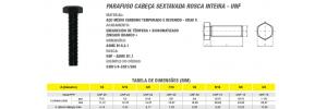 Parafuso Cabeça Sextavada Rosca Inteira -UNF - Aço Médio Carbono 8.8