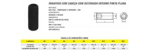 Parafuso Allen Sem Cabeça Com Sextavado Interno Ponta Plana din 913