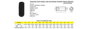 Parafuso Allen Sem Cabeça Com Sextavado Interno Ponta Côncava  (Recartilhada) Polegada Din 916