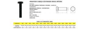 Parafuso Cabeça Sextavada Rosca Inteira Aço Médio Carbono  Milímetro Classe 8.8