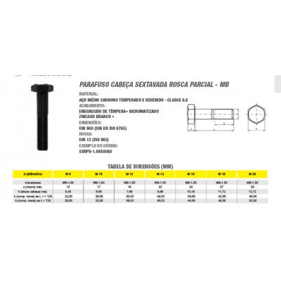 Parafuso Cabeça Sextavada Rosca Parcial MB Aço Médio Carbono Temperado Classe 8