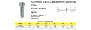 Parafuso Rosca Máquina Cabeça Redonda Com Fenda Simples