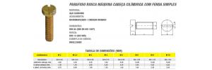 Parafuso Rosca Máquina Cabeça Cilíndrica Com Fenda Simples
