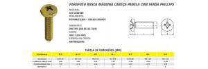 Parafuso Rosca Máquina Cabeça Panela Com Fenda Phillips Bicromatizado