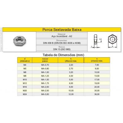 Porca Sextavada Baixa Aço Inox A2  Classe 18.8 - Rosca Grossa