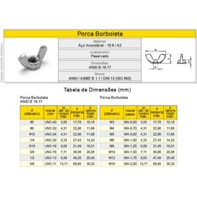 Porca Borboleta Aço Inox A2  Classe 18.8 - Rosca Grossa