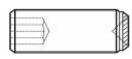 Aplicação do Parafuso Sem Cabeça com Sextavado Interno com pontas plana, cilíndrica, half-dog, cônica, recartilhada e côncava
